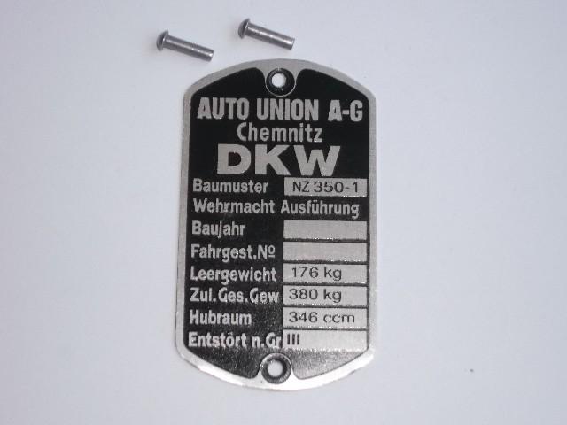 Tabliczka znamionowa Dkw Nz 350/1